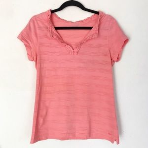 | Vineyard Vines | short sleeve ruffled collar top